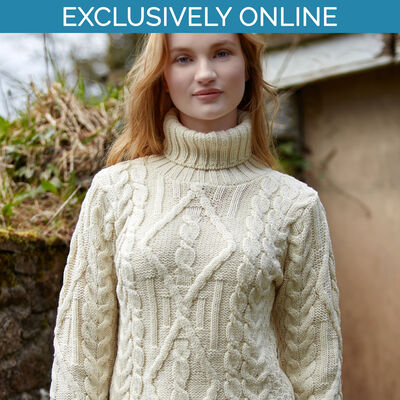 West End Knitwear Natural Colour Inch Turtle Neck Aran Sweater
