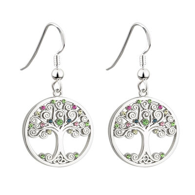 Solvar Rhodium Plated Tree Of Life Earrings Encrusted With Coloured Crystal