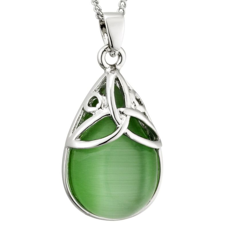 Rhodium Plated Green Cat Eye Oval Design Trinity Knot Pendant