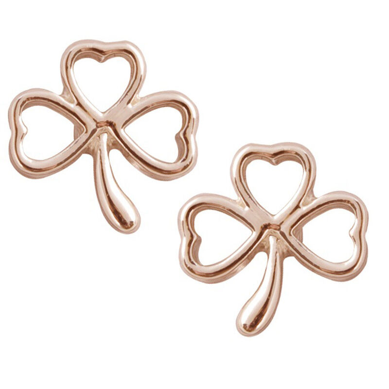 Rose Gold Plated Irish Shamrock Ribbon Designed Stud Earrings