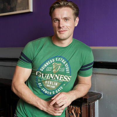 Guinness T-Shirt With Dublin Ireland St. James's Gate Label, Sage & Navy Colour