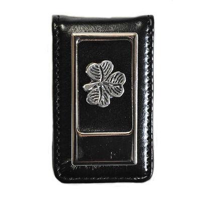 Mullingar Pewter Leather Money Clip With Shamrock Design