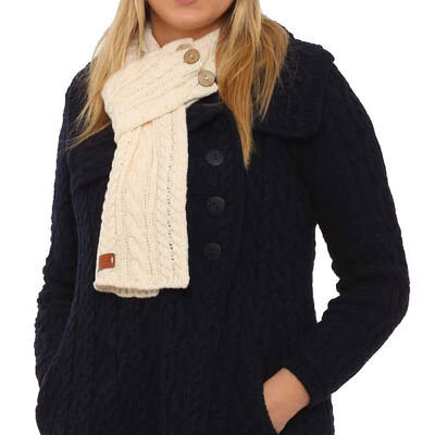 Cream Wrap Scarf With Cable Knitted Design And Three Buttons