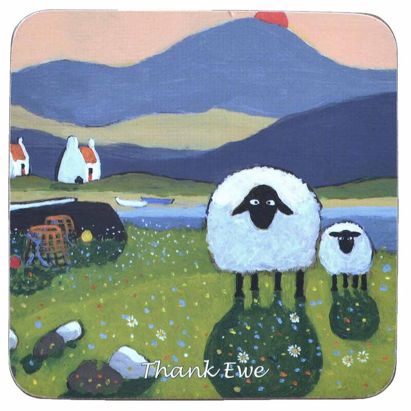 "Irish Coaster With Big And Small Sheep On A Meadow With Text ""Thank Ewe"""