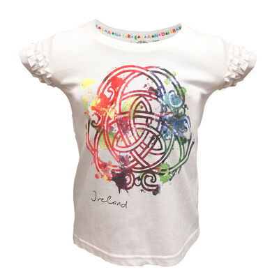 White T-Shirt With Colourful Celtic Knot Design With Frill Sleeves