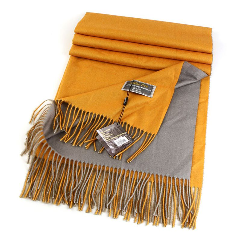 Celtic Ore Authentic Irish Two-Sided Scarf  Yellow/Grey Colour
