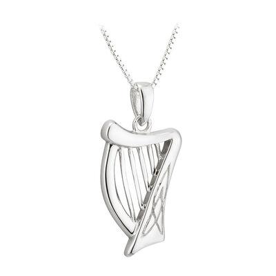 Hallmarked Sterling Silver Celtic Harp Pendant