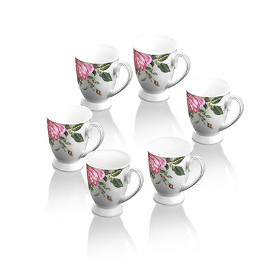 Newbridge Silverware Fine Bone China Rose Collection Set of 6 Mugs