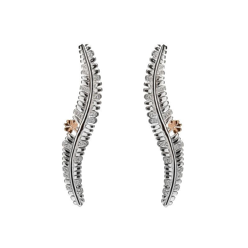 Hallmarked Sterling Silver Fern Long Stud Earrings