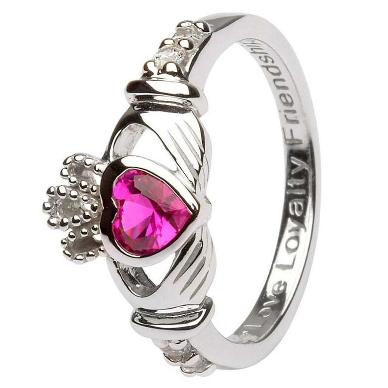 Hallmarked Sterling Silver Claddagh July Birthstone Ring