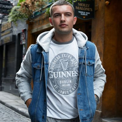 Guinness T-Shirt With Brewed In Dublin Bottle Label  Grey Colour