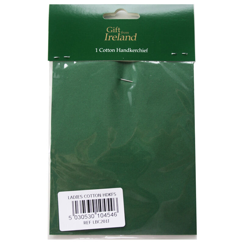 Ladies Pure Linen Handkerchief With Green Shamrock Print