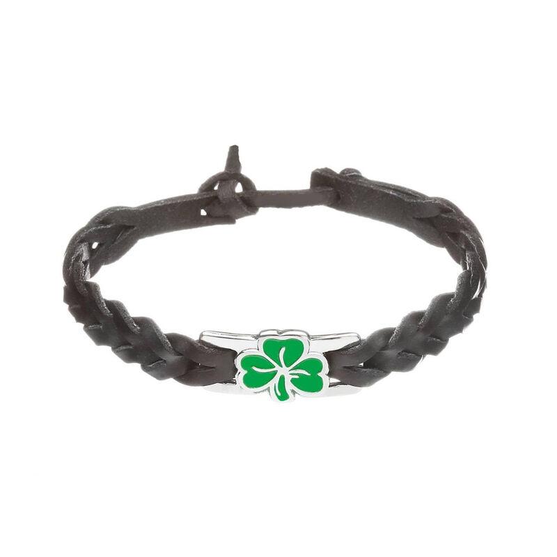 Black Leather Bracelet With Green Shamrock Design