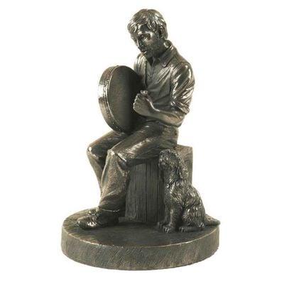 "6.5"" Bodhran Player Bronze Statue"