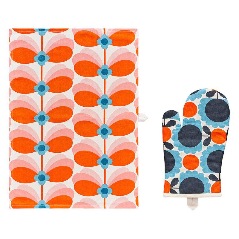 Orla Kiely Butterfly Stem Designed Tea Towel and Oven Mitt Set