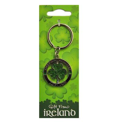 Metal Spinner Keychain With Green Glitter Lucky Shamrock