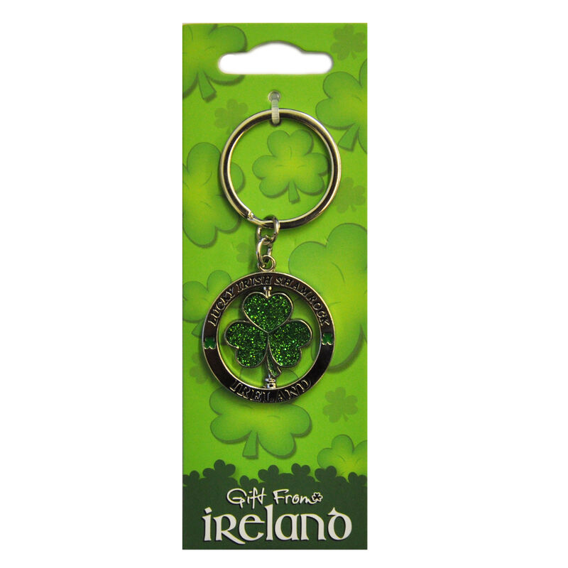 Metal Spinner Keychain With Green Glitter Lucky Shamrock