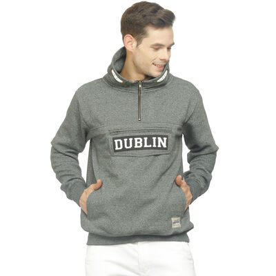 Dublin Designed Quarter Zip Hoodie With Front Flap Pocket  Green Colour