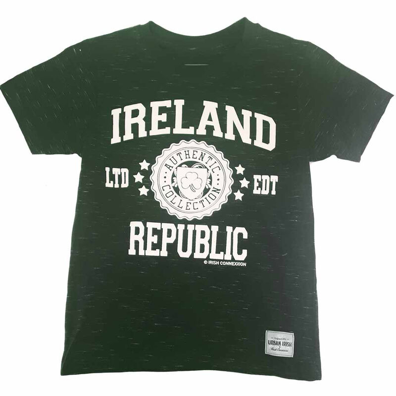 T-Shirt With Ireland Republic LTD EDT Varsity Shield  Forest Green Colour