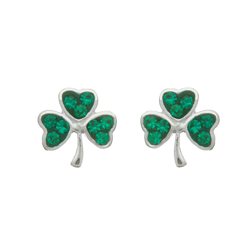 Hallmarked Sterling Silver Stud Earrings With Green Shamrock Shape Design