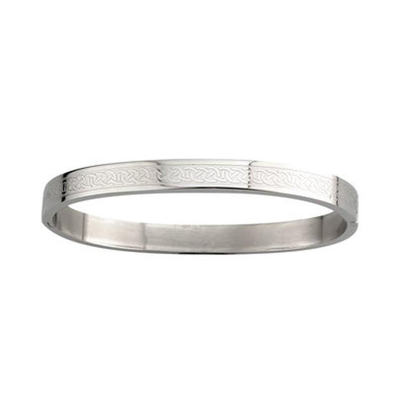 Steel Bracelet With Engraved Celtic Knot Design