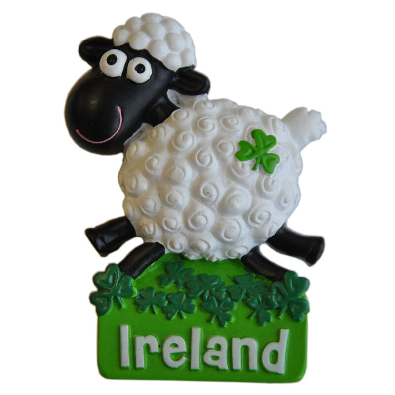 Resin Magnet With Ireland Jumping White Sheep