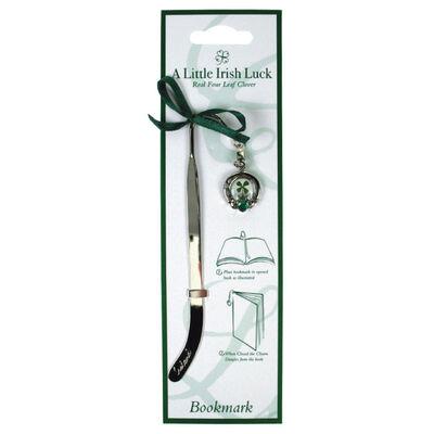 Four Leaf Clover Bookmark With Claddagh Charm