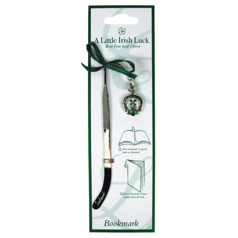 Four Leaf Clover Bookmark With Claddagh Charm