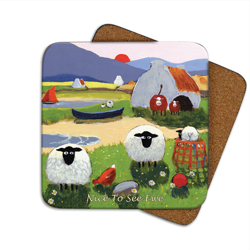 Irish Coaster With Sheep By a Lake With The Text 'Nice To See Ewe'