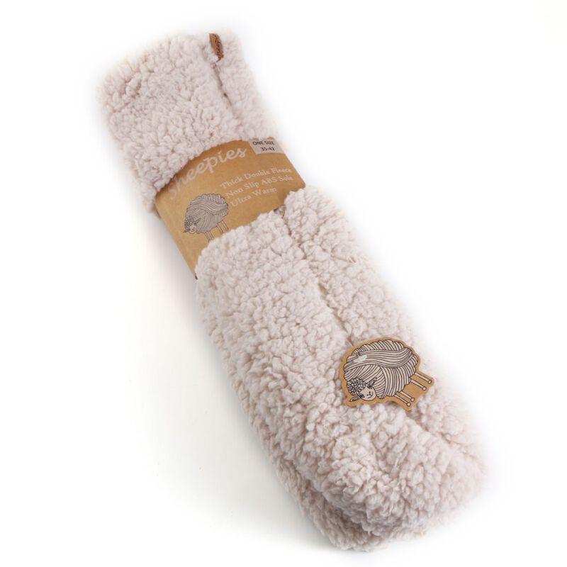 Soft Irish Sheepies Double Fleece Woolly Slipper Socks  Cream Colour
