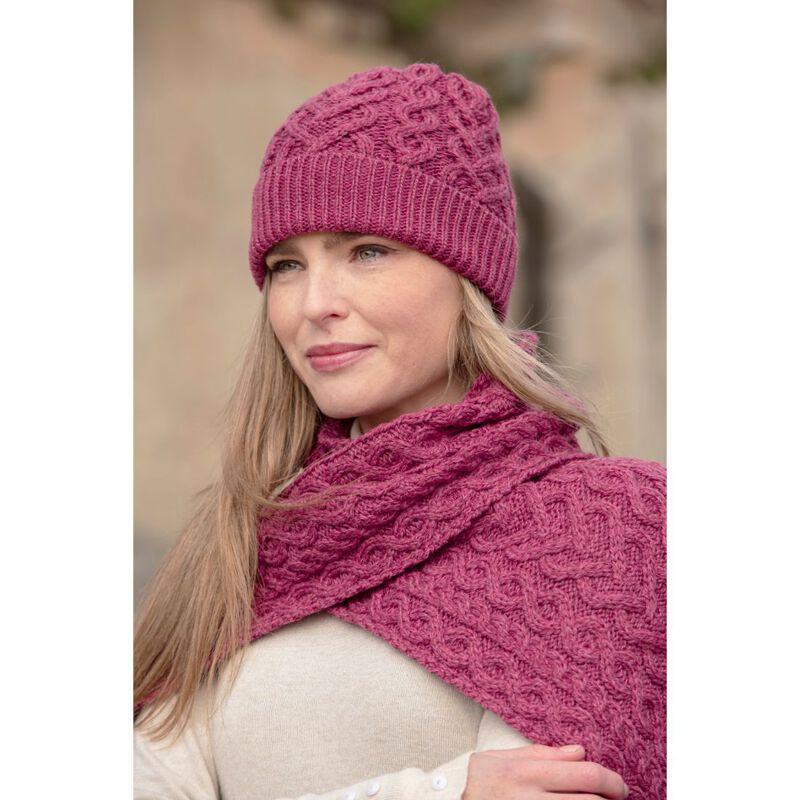 Aran Crafts Super Soft Heart Design Hat  Magenta Pink Colour