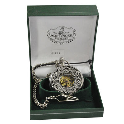 Mullingar Pewter-Taschenuhr ohne Deckel und Kells-Design