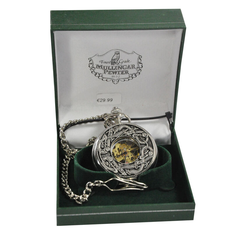 Mullingar Pewter Open Faced Pocket Watch With Kells Design