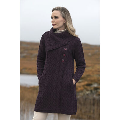 Merino Wool Knitted Damson Cardigan With Cable Stitching