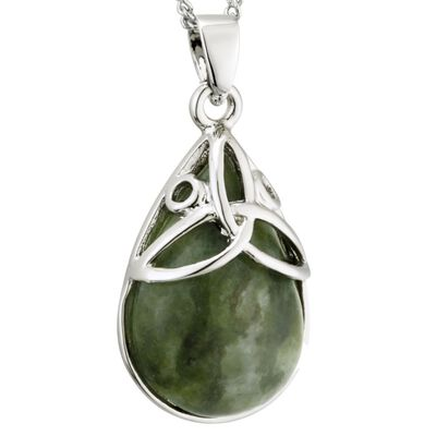 Rhodium Plated Connemara Marble Oval Design Trinity Knot Pendant