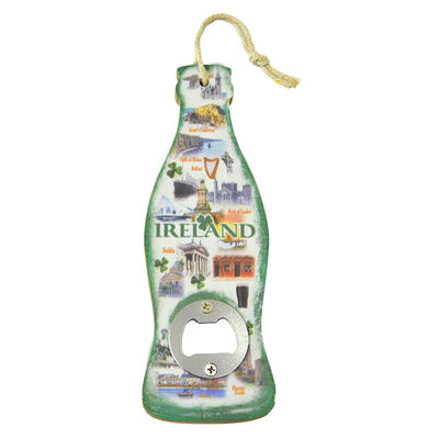 Famous Landmarks Of Ireland City Round Bottle Opener With Green Text