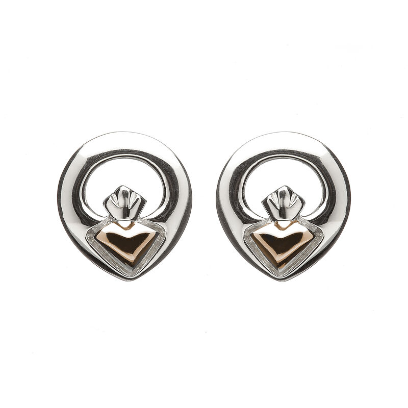 Hallmarked Sterling Silver Iconic Claddagh Stud Earrings