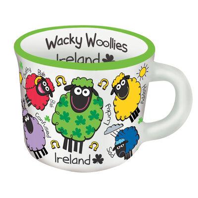 Wacky Woollies Designed Espresso Mug With Multi-Coloured Sheep Design