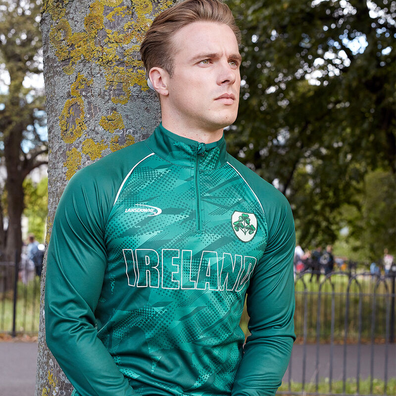 Ireland Zipped Performance Top Green Colour With Shamrock Crest
