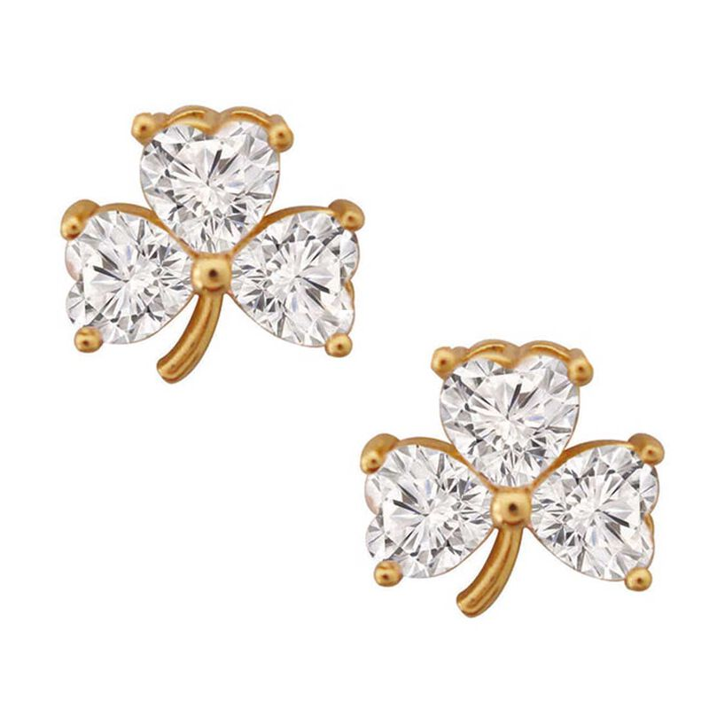 Gold Plated Shamrock Stud Earrings With White Cubic Zirconia Stones