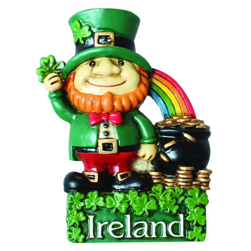 Antique Magnet With Ireland Leprechaun With Pot Of Gold And Rainbow