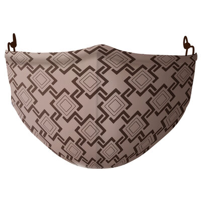 Re-Usable Face Covering Beige & Brown Square Patterns With Adjustable Ear Loops