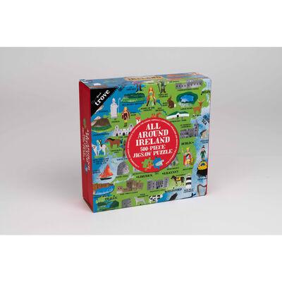 All Around Ireland 500-Piece Jigsaw Puzzle With Irish Map Poster