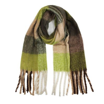 Heritage Traditions Mohair Look Wrap Blanket Scarf  Green And Brown Colour