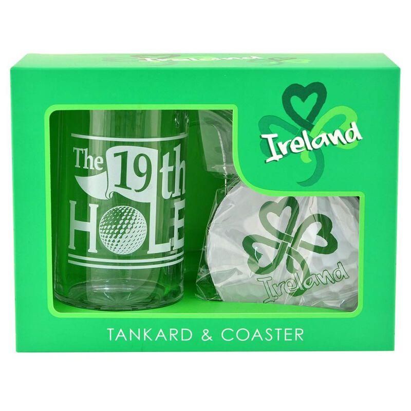 Ireland Golf The 19Th Hole Glass Tankard And Coaster Gift Set