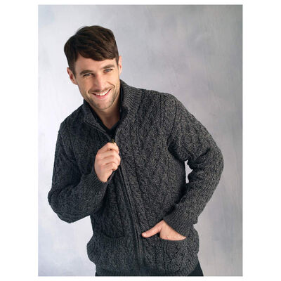 Aran Zip Cable Mens Cardigan Charcoal