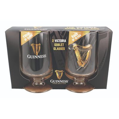 Guinness 2-Pack Embossed Victoria Goblet Stem Glasses With Harp Design