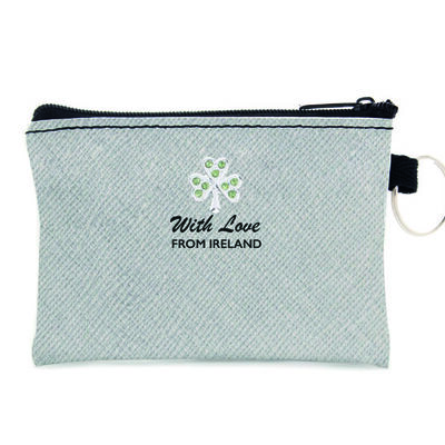 Silver Leather Coin Purse With Shamrock Design And 'With Love From Ireland' Text