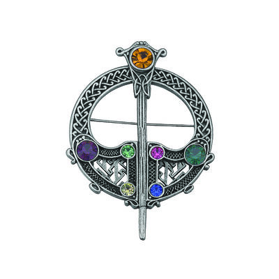 Silver Plated Full Circle Tara Brooch With Coloured Stones