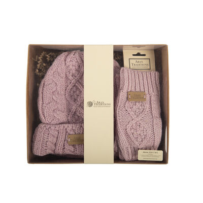 Aran Traditions Gift Set - Aran Pastel Donegal Beanie Hat & Handwarmers Set, Pink Colour